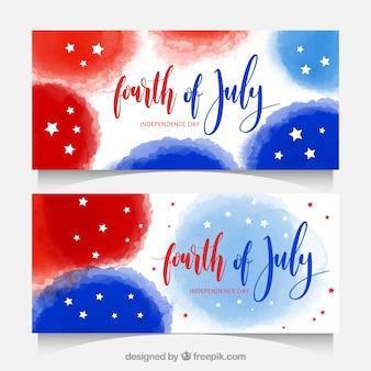Banners de acuarela para el día de la independencia de estados unidos