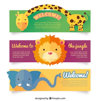 Banners de animales encantadores
