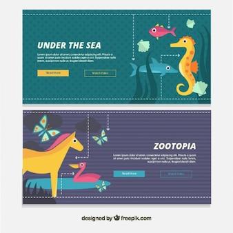 Banners de animales planos