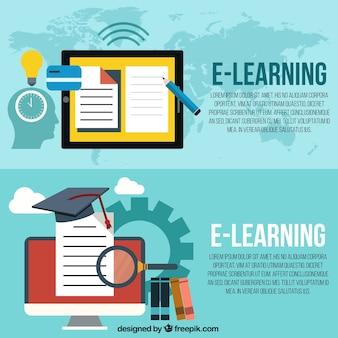 Banners de aprendizaje a distancia en diseño plano