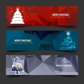 Banners de árbol de navidad poligonal