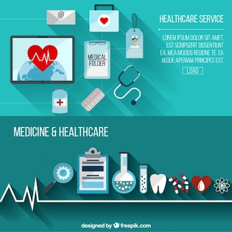 Banners de atención médica con elementos planos