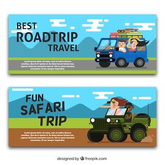 Banners de aventura en diseño plano
