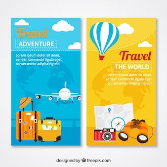 Banners de aventuras de viaje