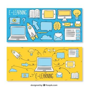 Banners de bocetos de elementos de aprendizaje a distancia
