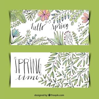 Banners de bocetos de flores