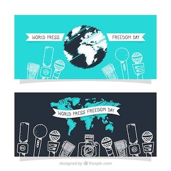 Banners de bocetos de micrófonos para la libertad de prensa