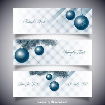 Banners de bolas de navidad azules