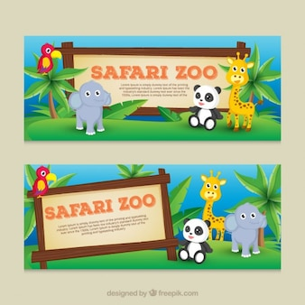 Banners de bonitos bebé animales