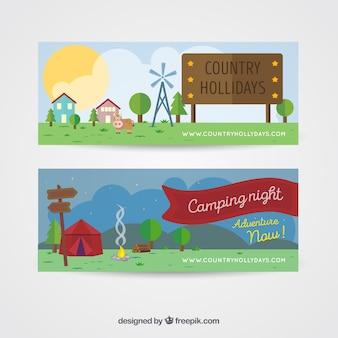 Banners de bonitos paisajes con casas y tienda de campaña