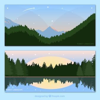 Banners de bonitos paisajes de bosque dibujados a mano