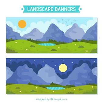 Banners de bonitos paisajes pintados a mano