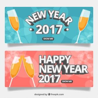 Banners de brindis de año nuevo 2017