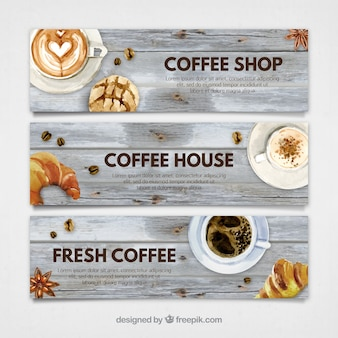 Banners de cafetería con acuarela