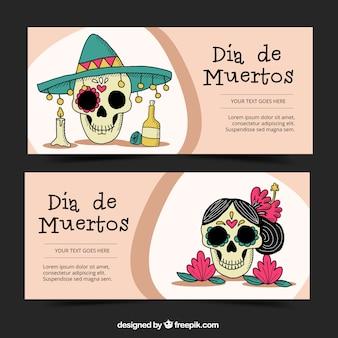 banners de calaveras mexicanas dibujadas a mano