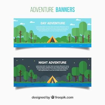 Banners de campamento en diseño plano