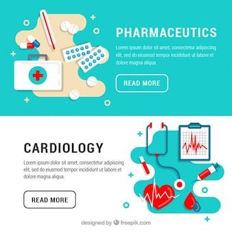 Banners de cardiología y farmacéutica