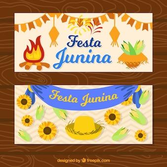 Banners de celebración de festa junina