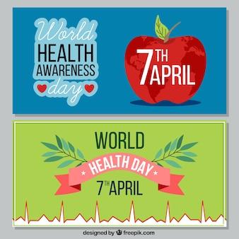 Banners de celebración del día mundial de la salud