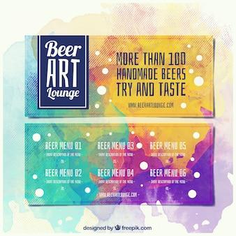 Banners de cerveza pintados con acuarelas
