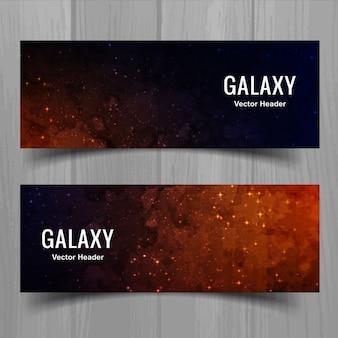 Banners de cielo estrellado de acuarela