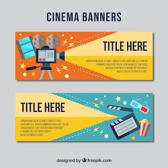 Banners de cine con materiales audiovisuales planos