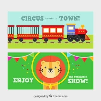 Banners de circo con un tren y un simpático león