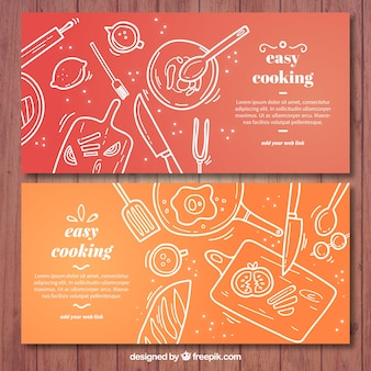 Banners de cocina rojos y naranjas con elementos blancos
