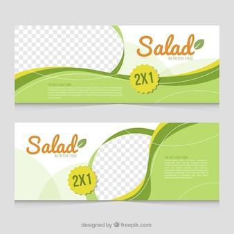 Banners de cocina verdes con formas onduladas