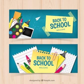 Banners de colegio con elementos artísticos