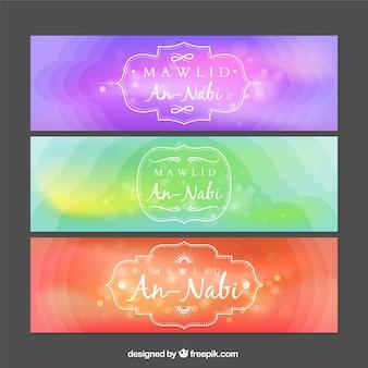 Banners de colores abstractos de mawlid