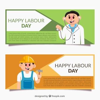 Banners de colores con trabajadores para el día del trabajo