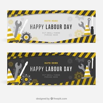 Banners de construcción del día de trabajo