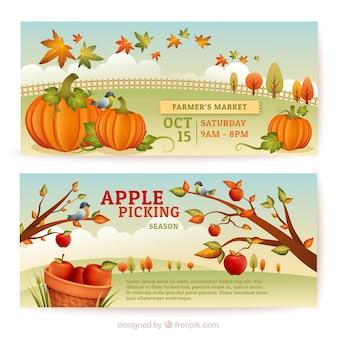 Banners de cosecha de otoño