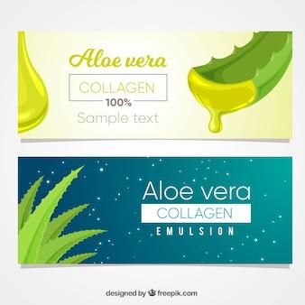 Banners de cosmética con aloe vera