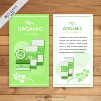 Banners de cosméticos orgánicos, estilo plano