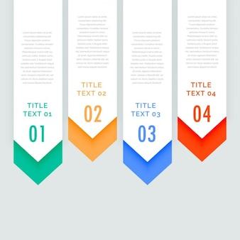 Banners de cuatro pasos de infografía con flecha hacia abajo