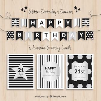 Banners de cumpleaños y tarjetas negro y plata