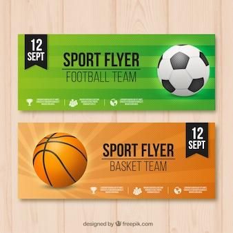 Banners de deporte con pelotas realistas