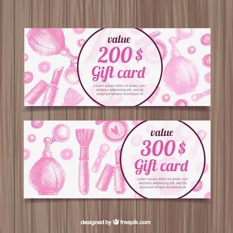 Banners de descuento de cosméticos rosa dibujados a mano