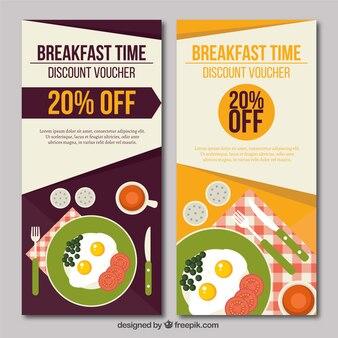 Banners de descuentos de desayuno