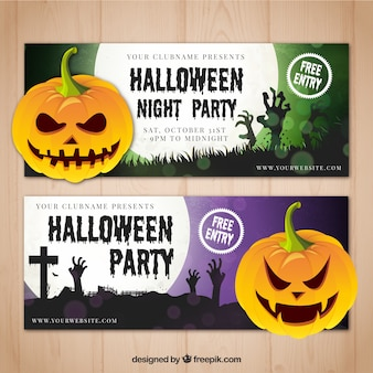 Banners de divertida fiesta de halloween