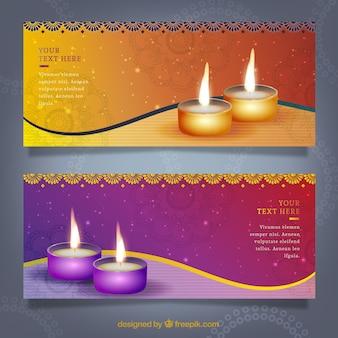 Banners de diwali coloridos