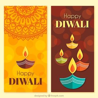 Banners de diwali en diseño plano