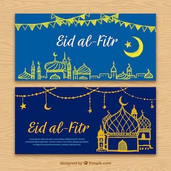 Banners de eid al fitr con dibujos