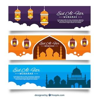 Banners de eid al-fitr con nubes