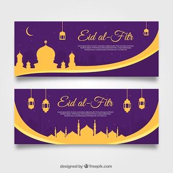 Banners de eid al-fitr dorados y en tono morado