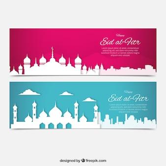 Banners de eid al-fitr siluetas blancas de ciudad