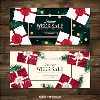 Banners de elegantes regalos de la semana del empaquetado