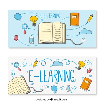 Banners de elementos de aprendizaje a distancia dibujados a mano